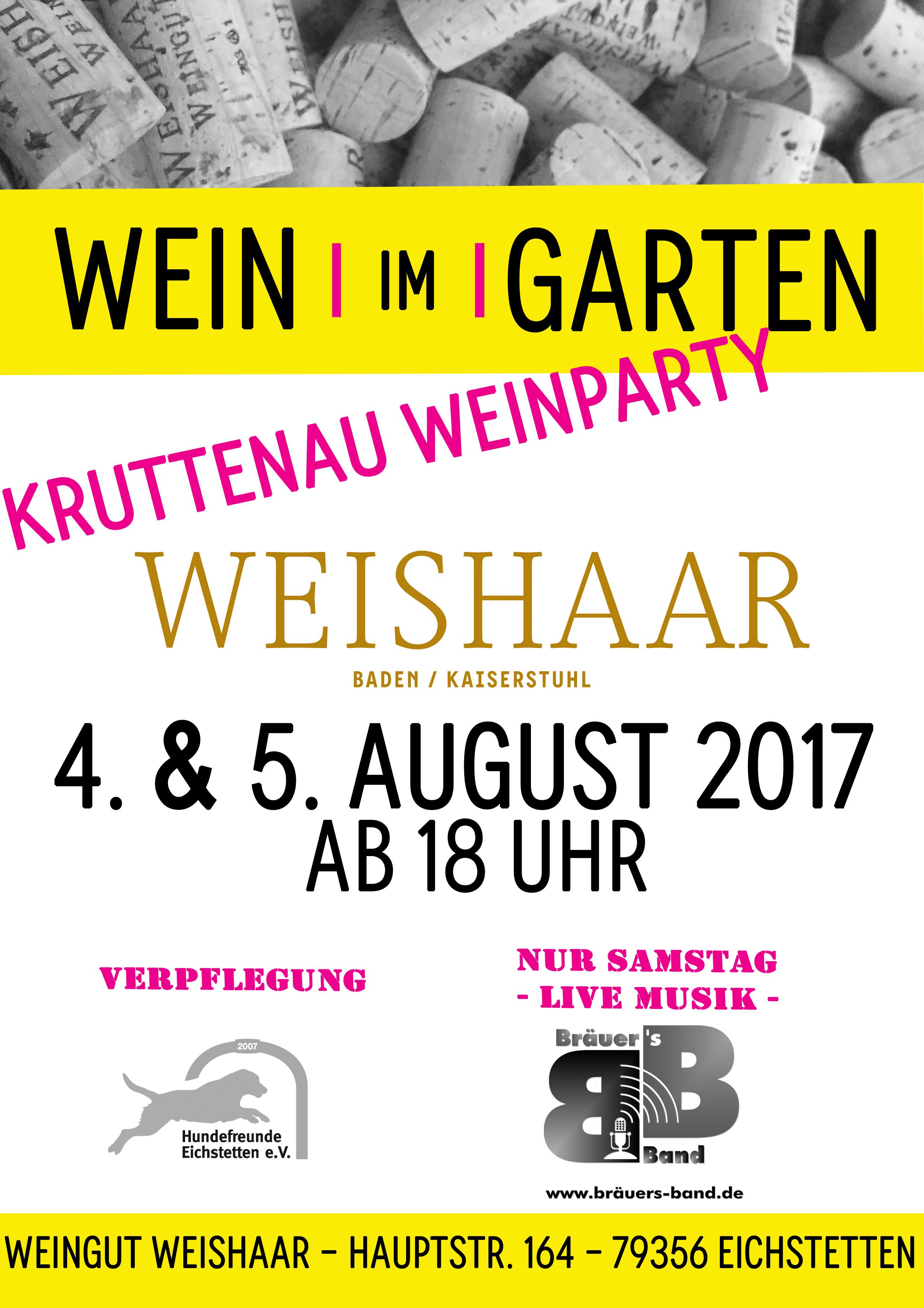 Wein Im Garten – Die Kruttenauweinparty am 4. & 5. August 2017