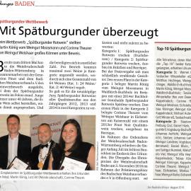 1. Platz beim Spätburgunder Preis 2016 – Erschienen in Badischer Winzer August 2016