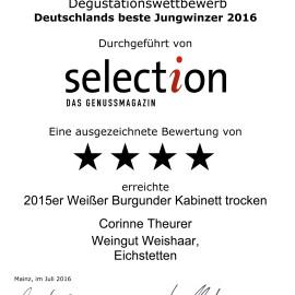 Urkunde für Weissburgunder Kabinett beim Jungwinzerwettbewerb der Selection