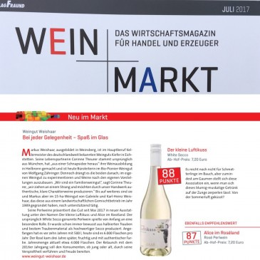 Neu im Markt, erschienen in der Wein+Markt 7/2017