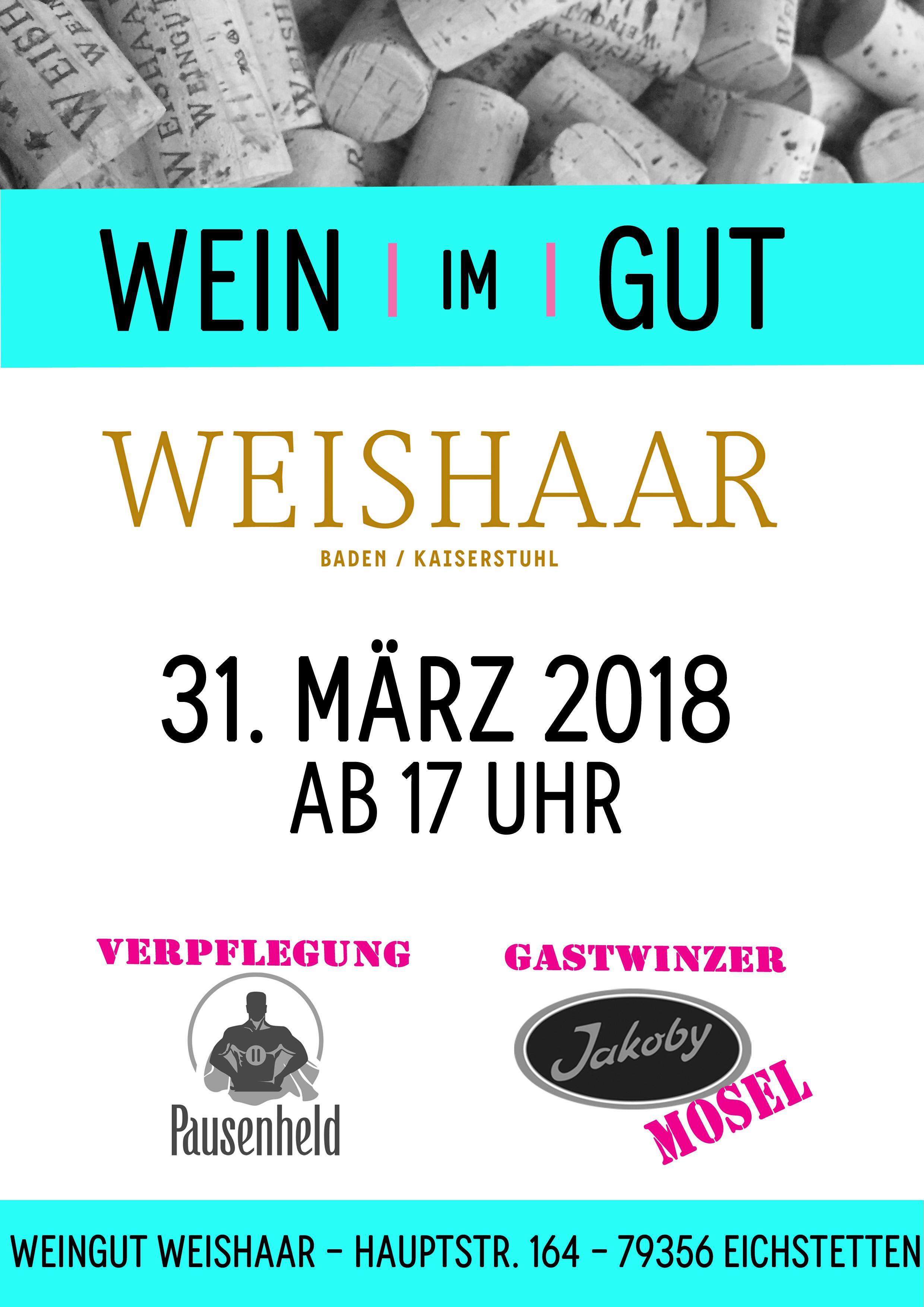 Wein im Gut 2018 – am 31.01.2018 ab 17 Uhr im Weingut Weishaar
