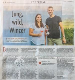 """""""Jung, Wild, Winzer"""" erschienen in der BZ am 13.10.2018"""
